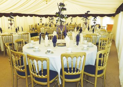 marquee table and chairs for hire